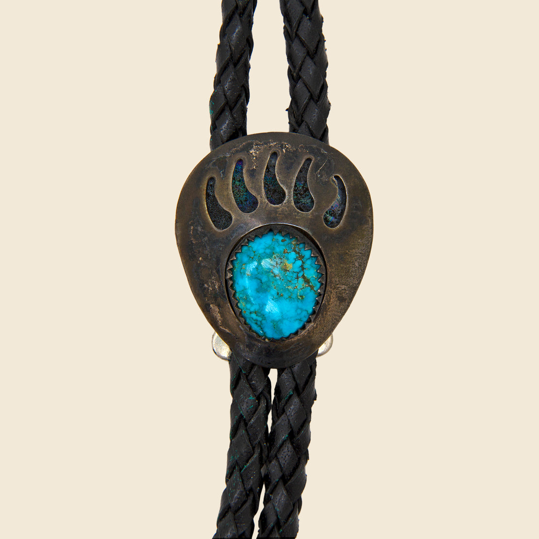 Turquoise Bear Claw Bolo Tie - Silver