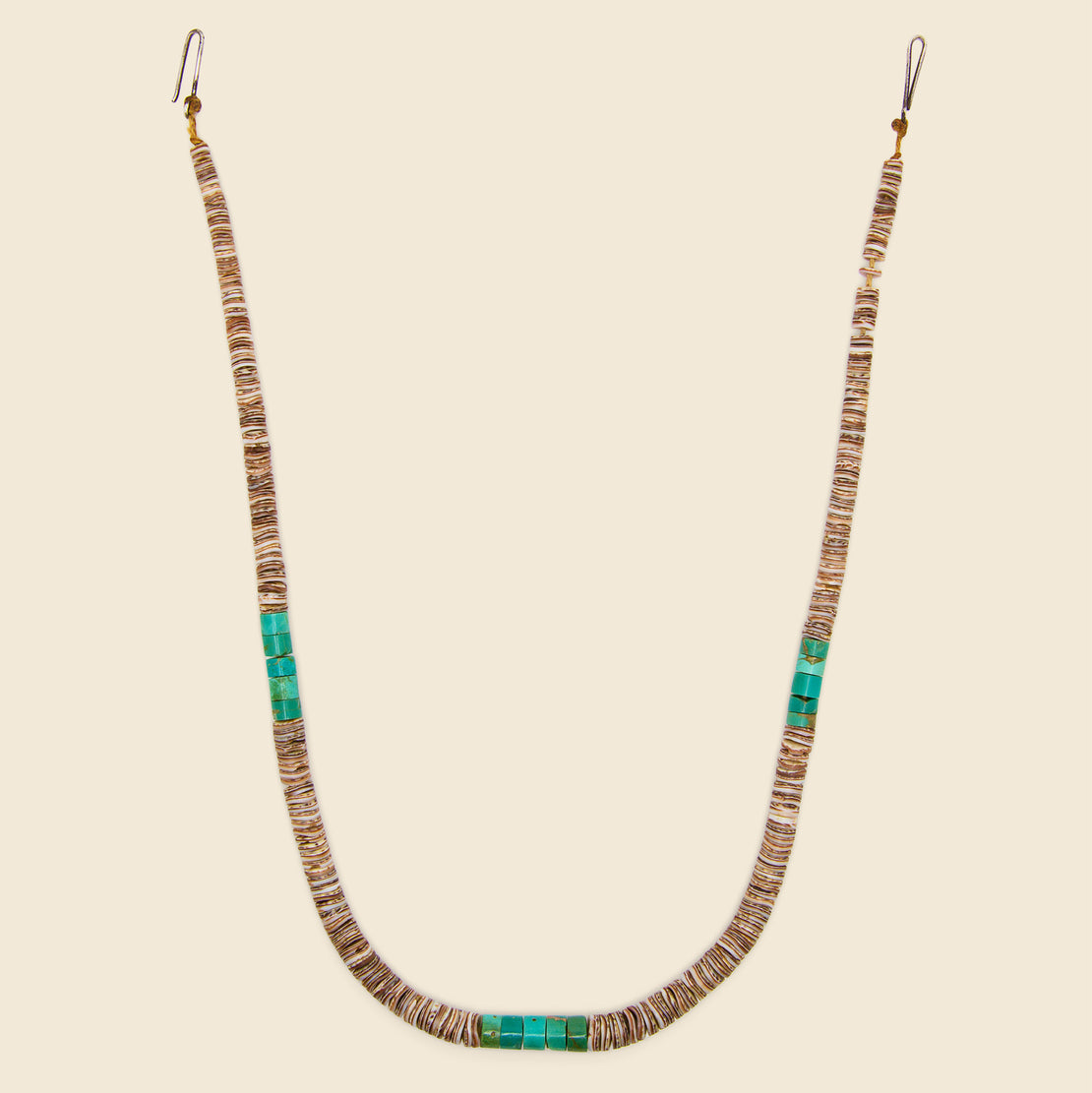 Vintage Heishe Necklace - Turquoise & Pin Shell