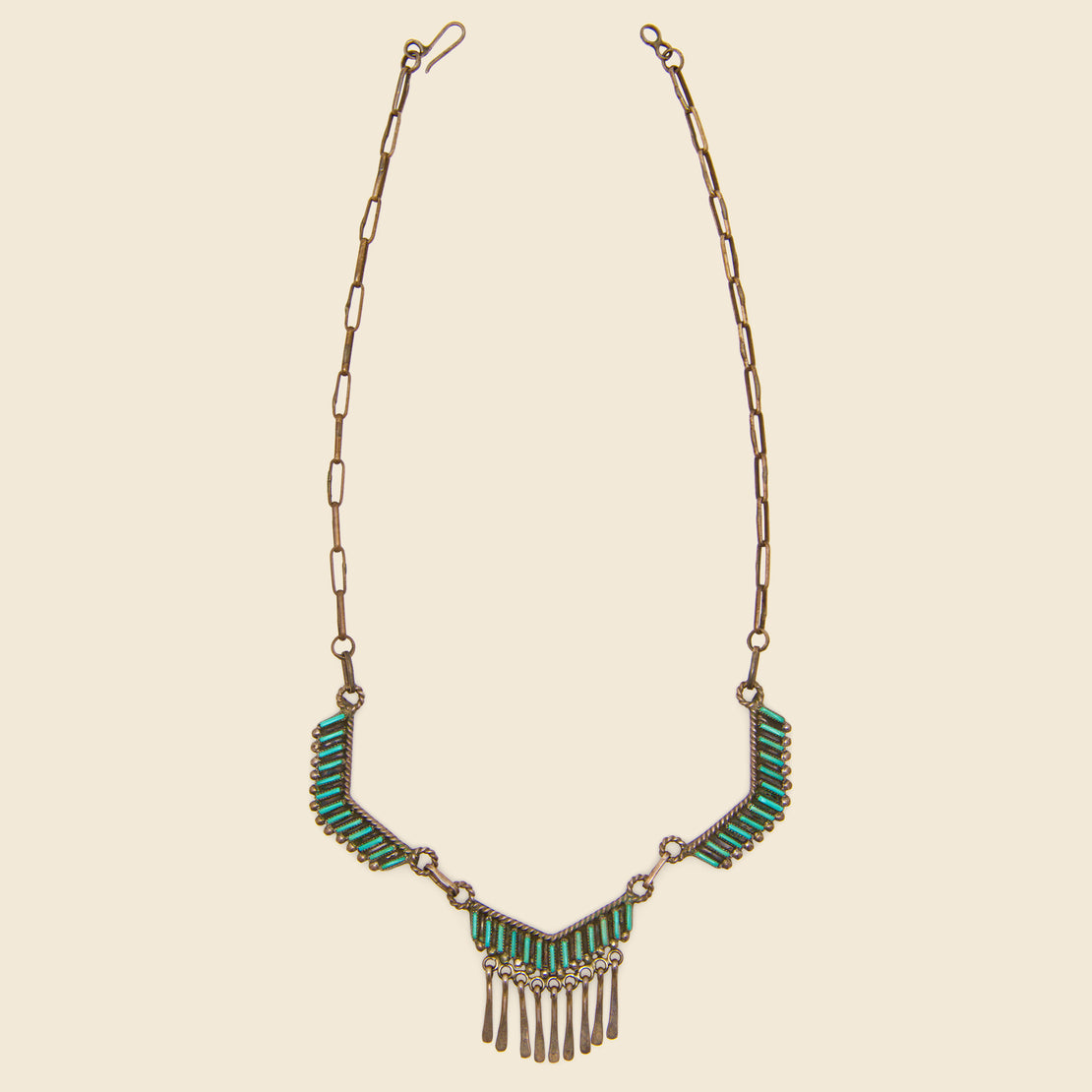 Vintage Pieced Necklace - Silver & Turquoise