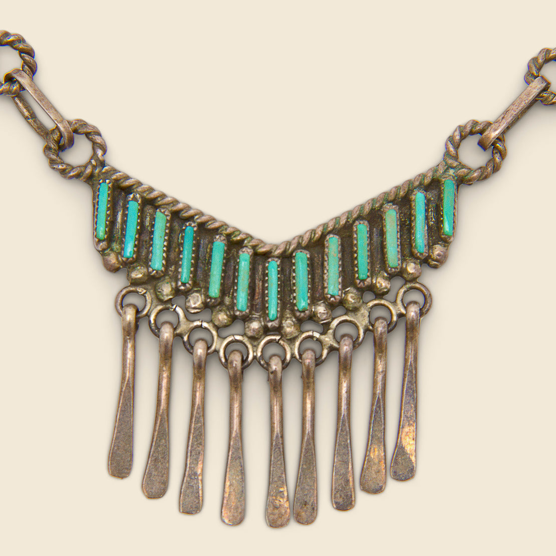 Pieced Necklace - Silver & Turquoise
