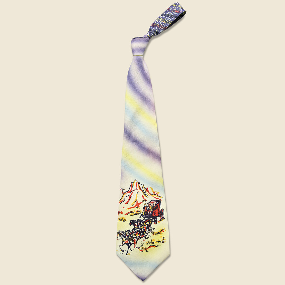 Vintage Hand Painted Stagecoach Tie