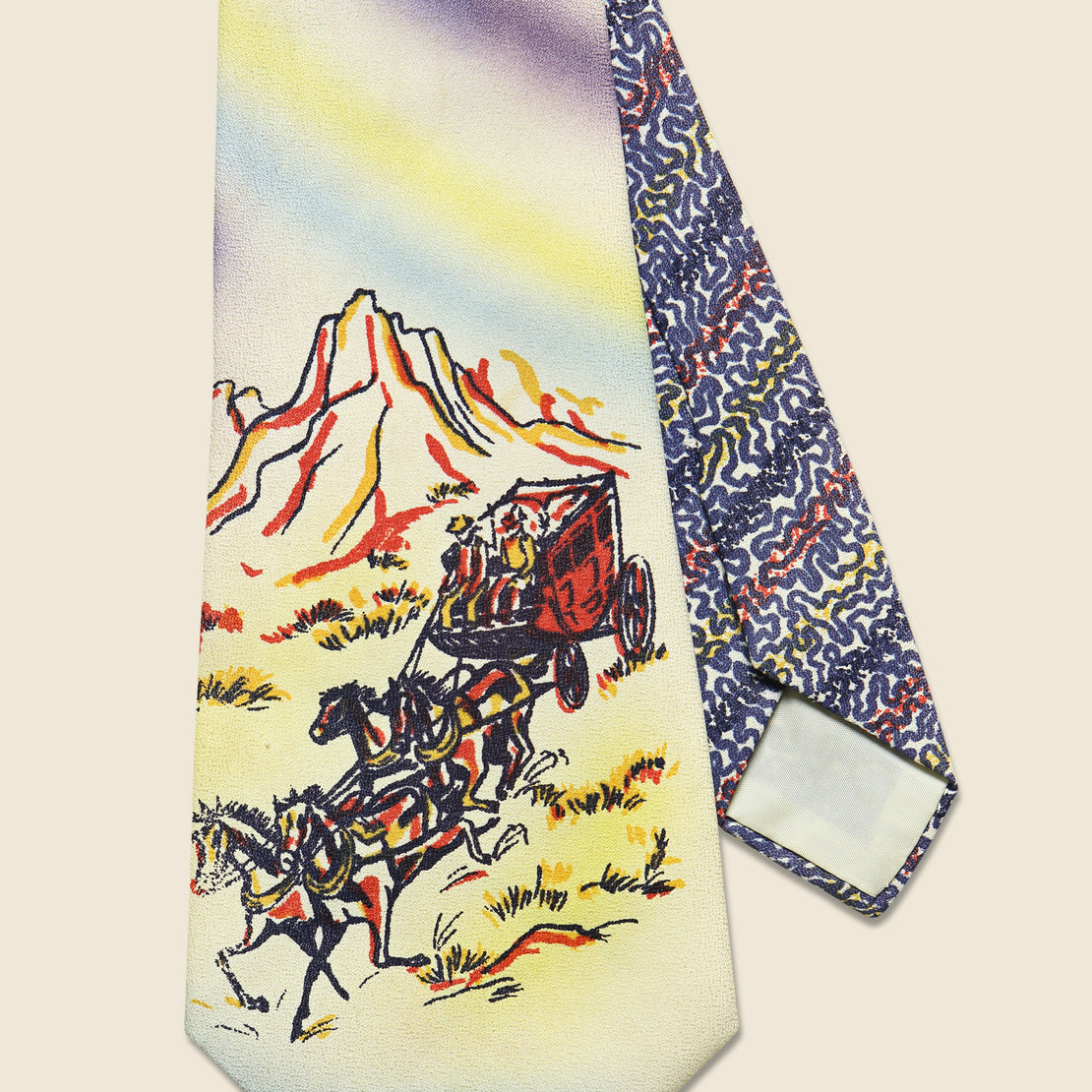 Hand Painted Stagecoach Tie
