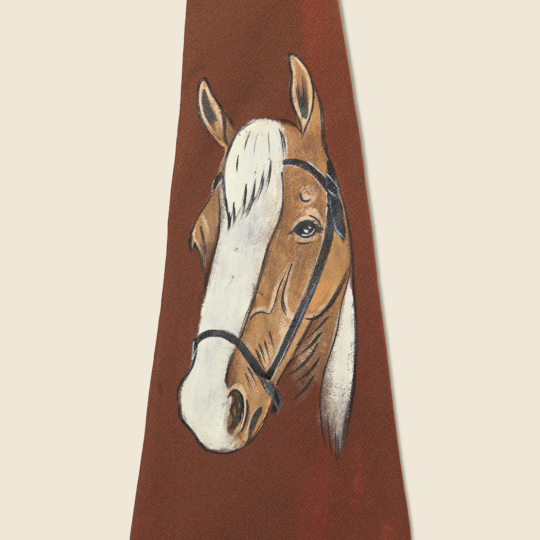 Hand Painted Burgundy Horse Tie