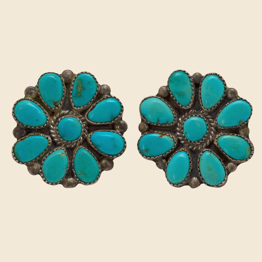 Vintage Turquoise Flower Earrings - Silver