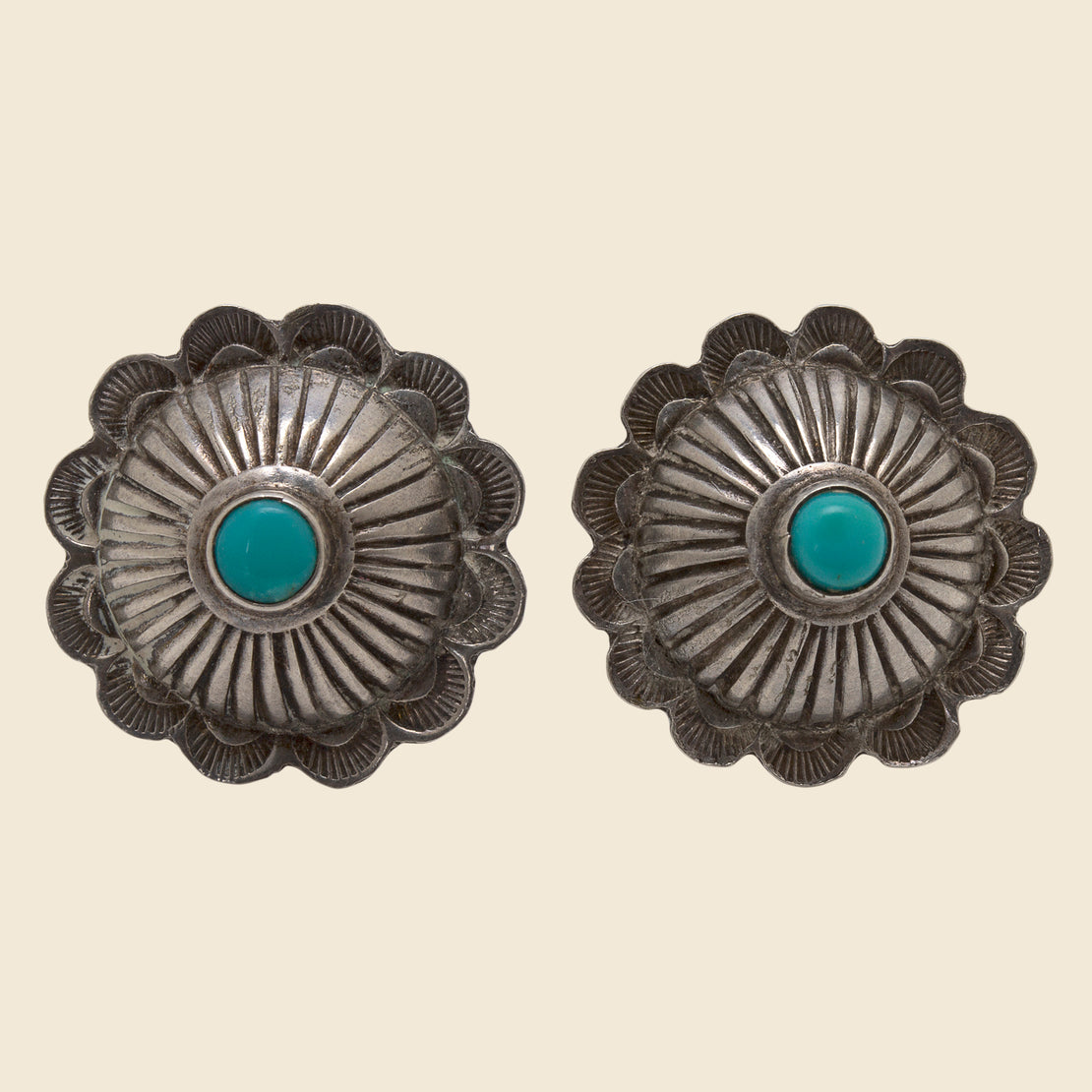 Vintage Concho Earrings - Silver & Turquoise