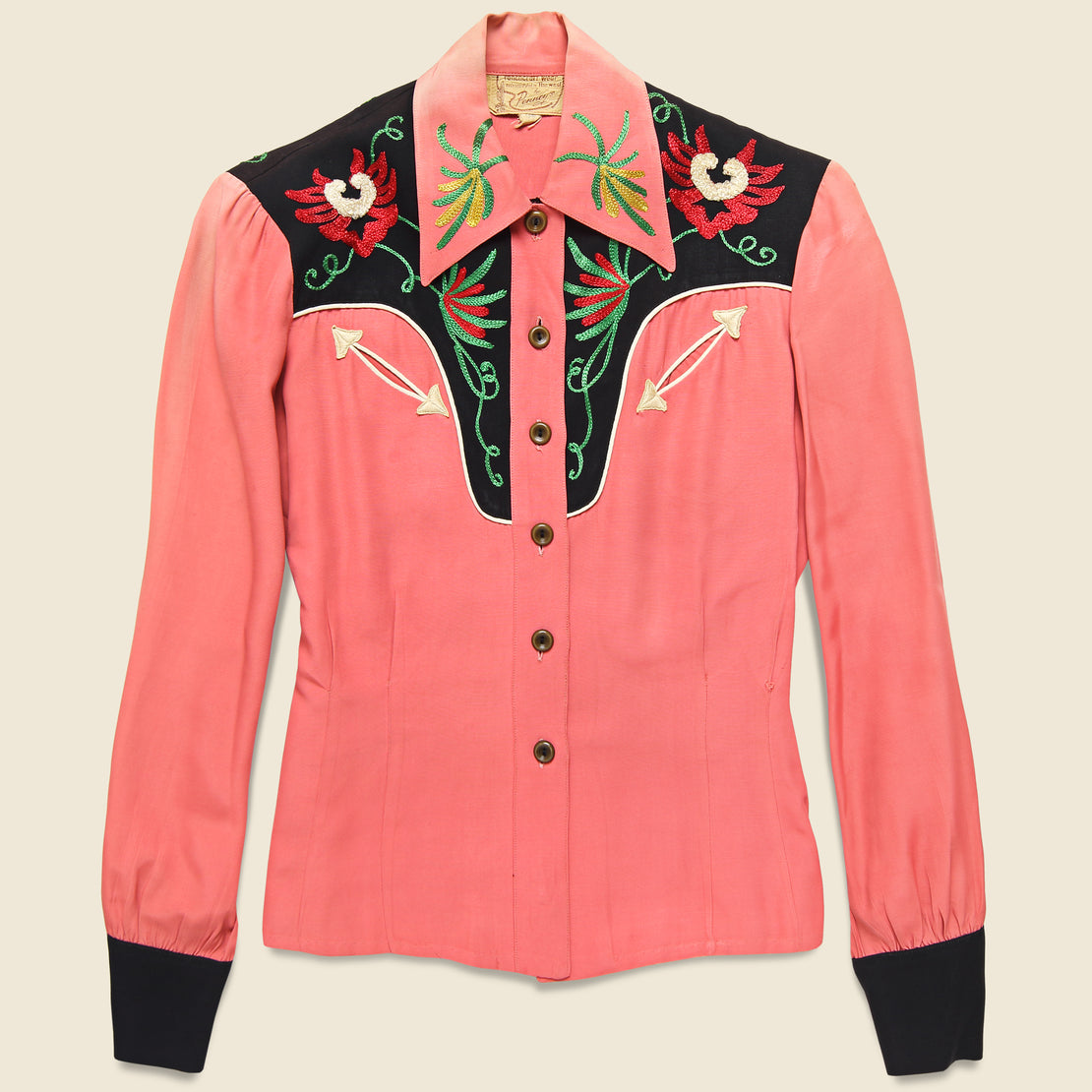 Vintage Penneys Ranchcraft Western Embroidered Blouse - Coral Pink