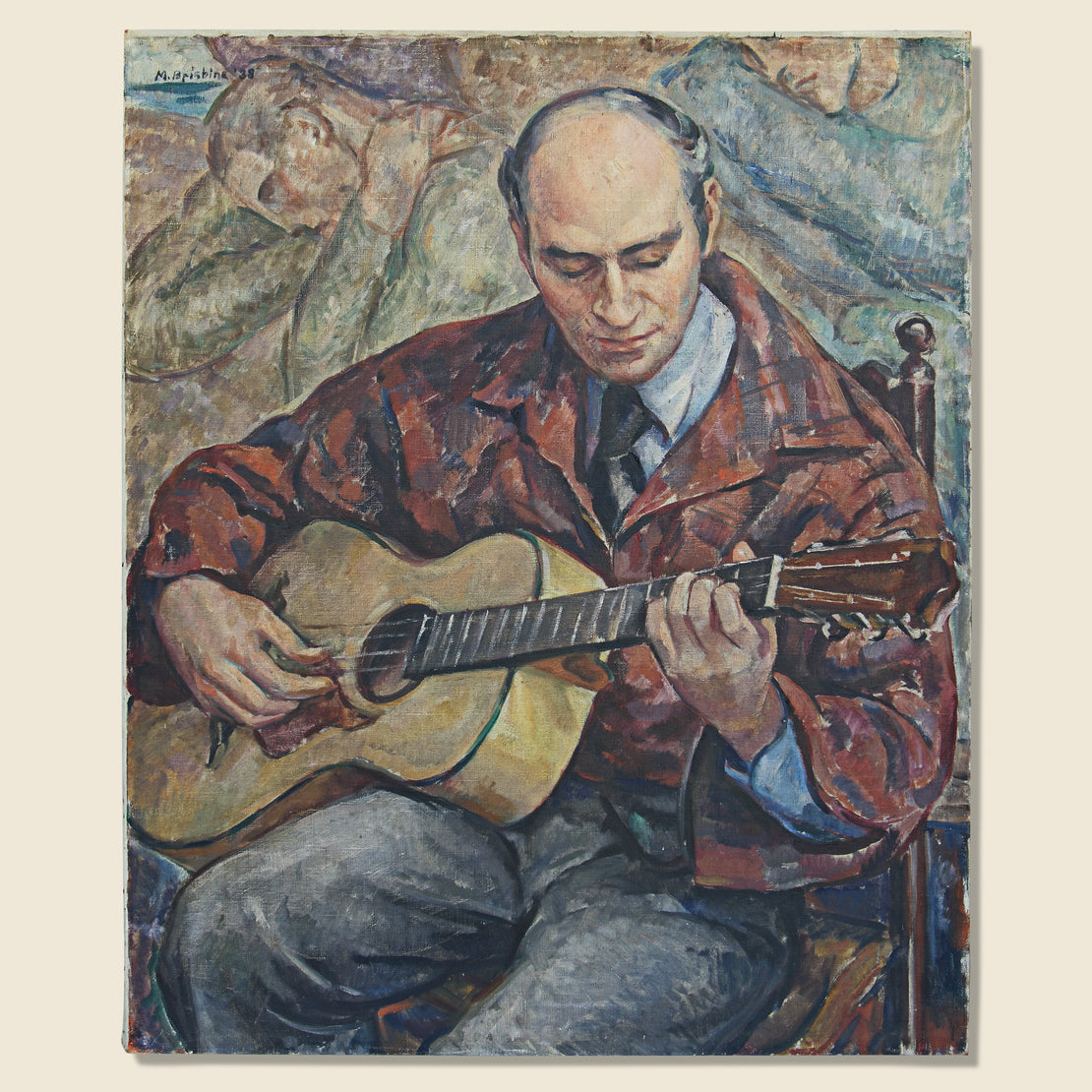 Vintage Man Playing Guitar Painting - Canvas