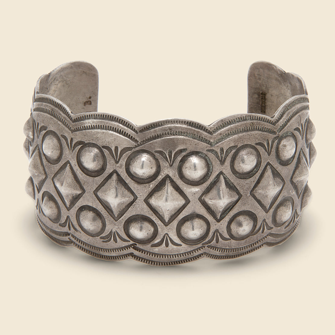 Vintage Large Studded Cuff - Sterling Silver