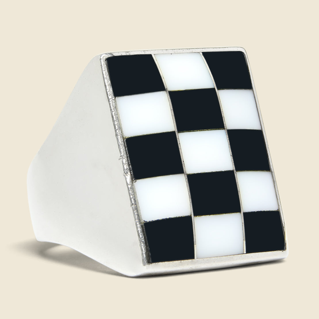 Vintage Mother of Pearl & Onyx Checkerboard Ring - Sterling
