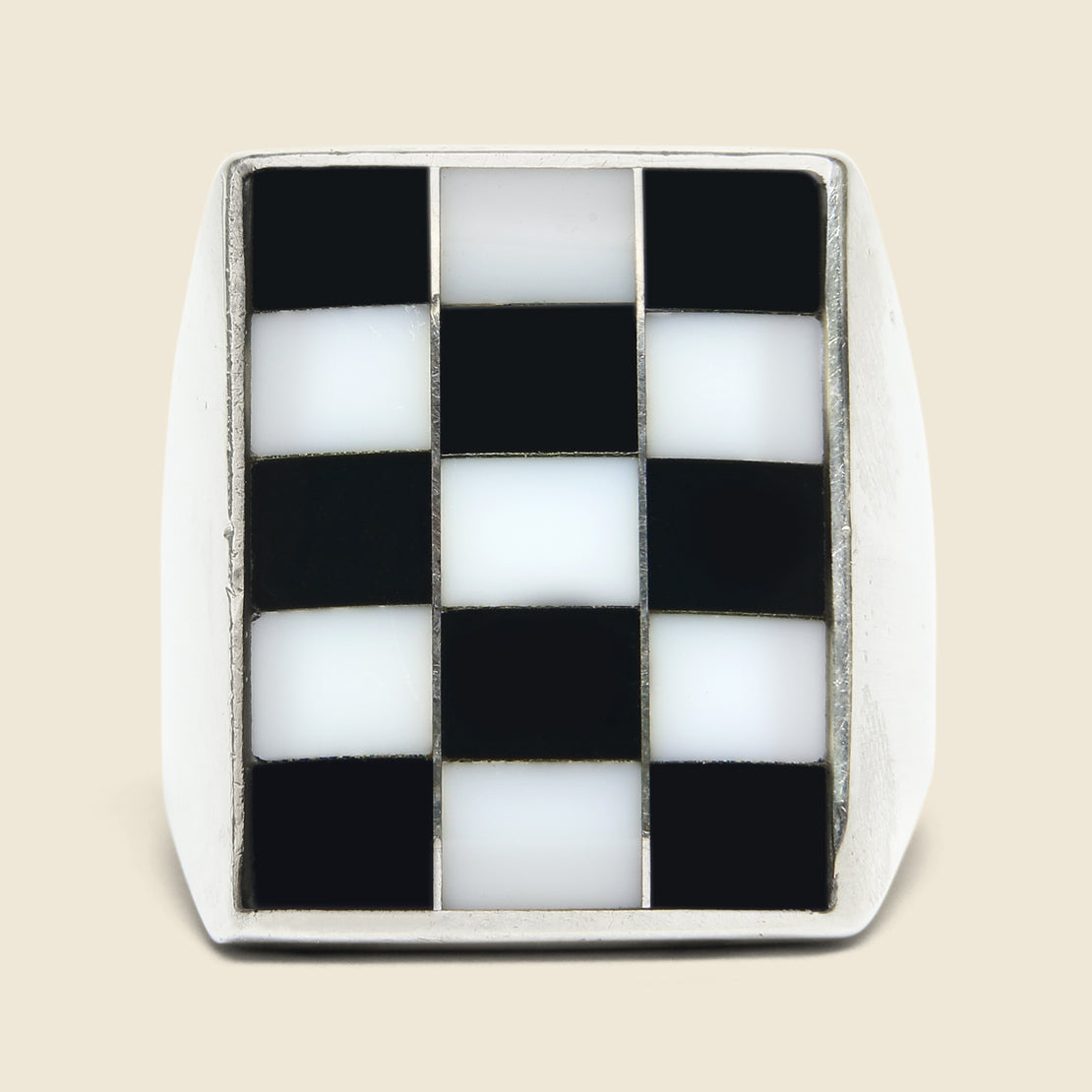 Mother of Pearl & Onyx Checkerboard Ring - Sterling
