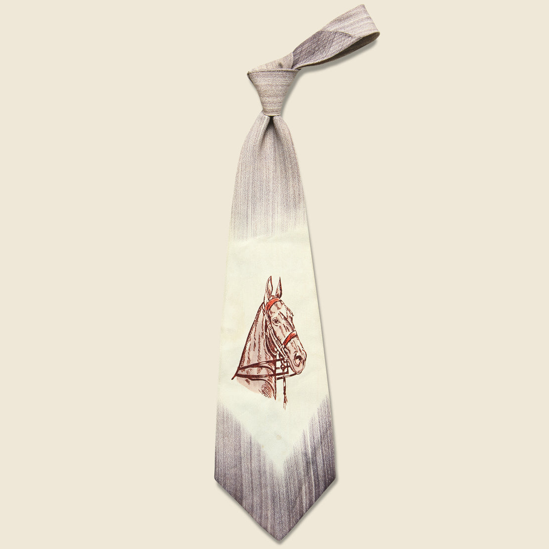 Vintage Horse Motif Fat Tie - Cream & Brown