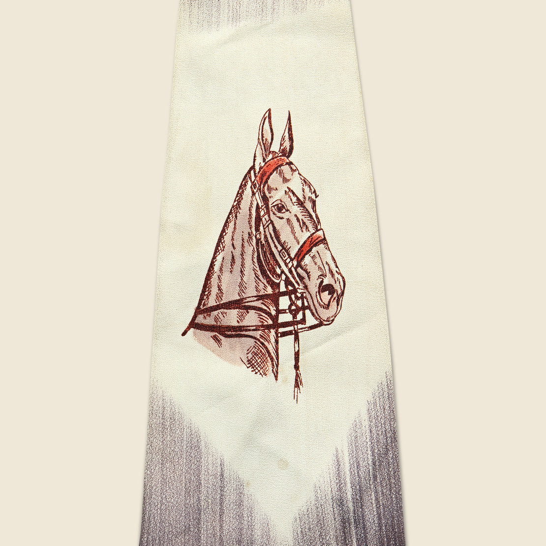 Horse Motif Fat Tie - Cream & Brown