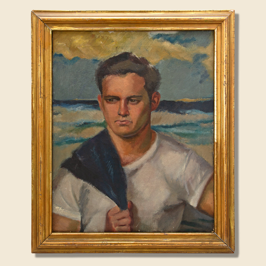 Art Gallery Mid-Century Oil Portrait - Seascape