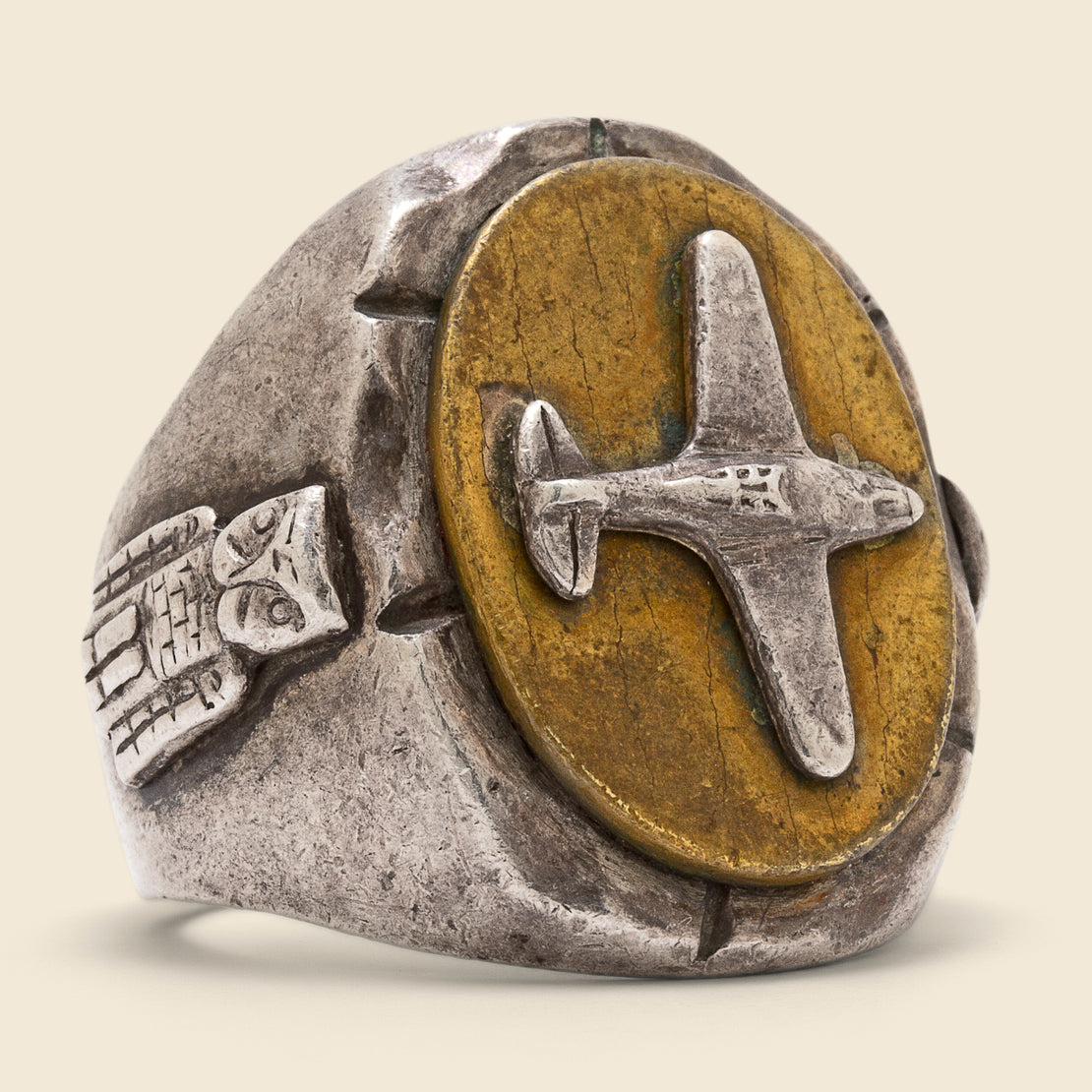 Vintage Airplane Biker Ring - Silver & Brass