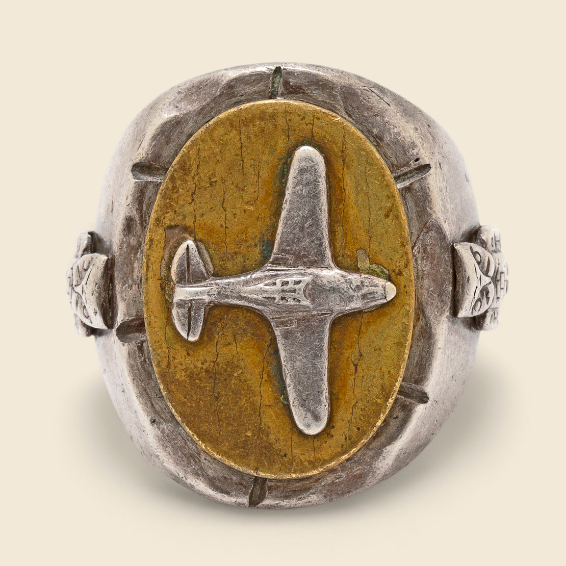 Airplane Biker Ring - Silver & Brass