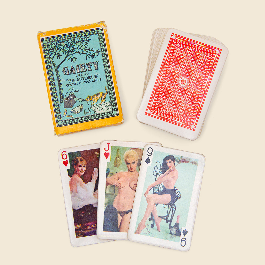 "Vintage Gaiety Brand ""54 Models"" Playing Cards - Teal/Gold"