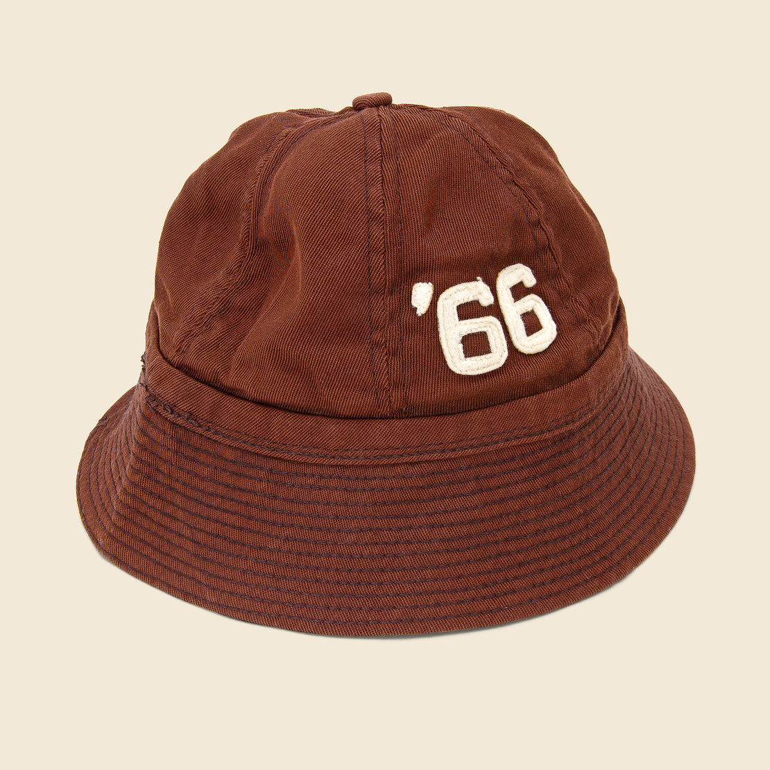 "Vintage Cotton Felt Embroidered Bucket Hat - ""66"""