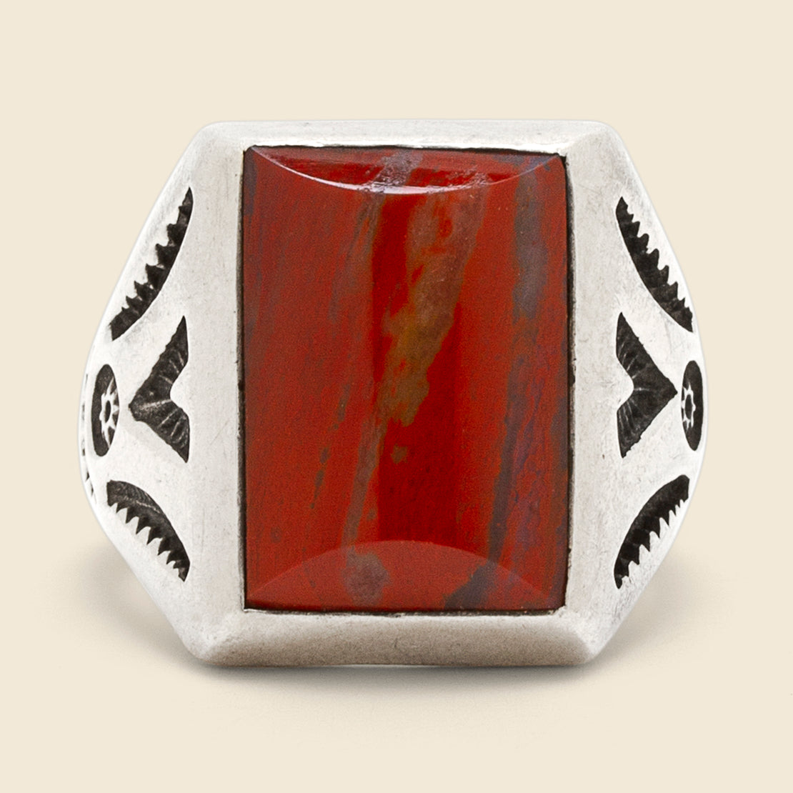 Stamped Picture Stone Ring - Sterling/Jasper