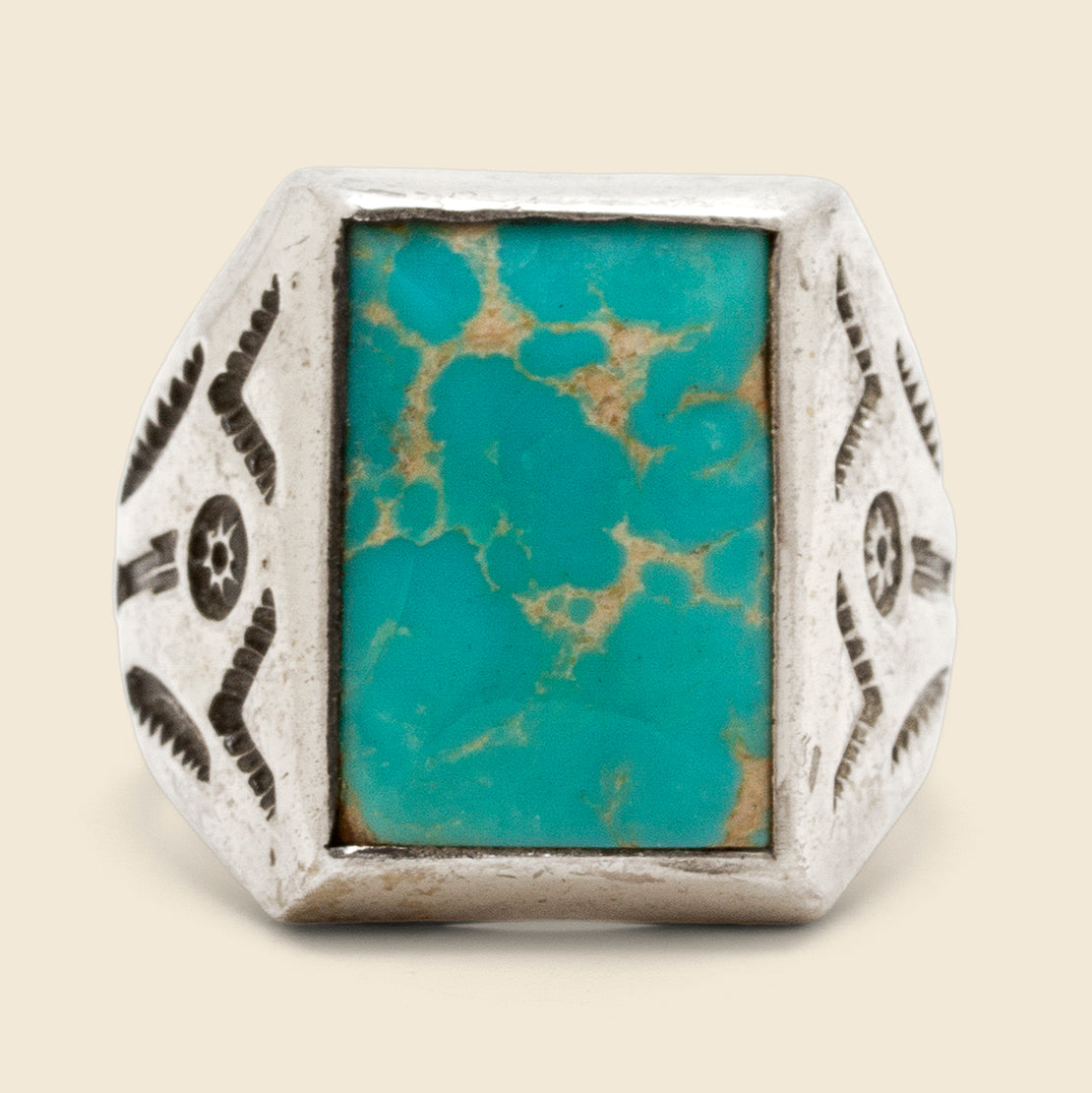Stamped Picture Stone Ring - Sterling/Turquoise
