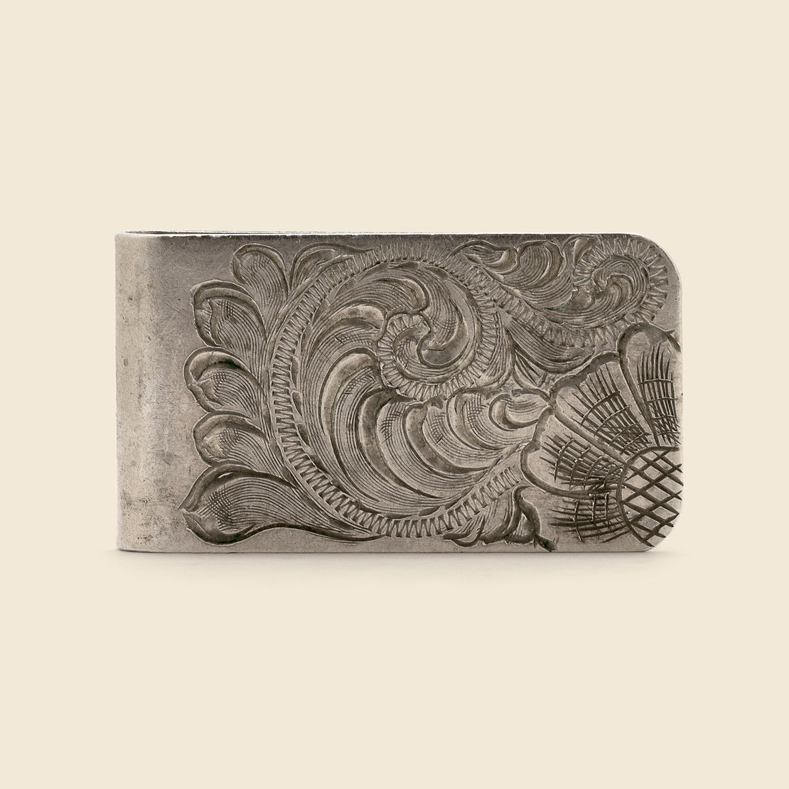 Vintage Paisley Etched Money Clip - Silver
