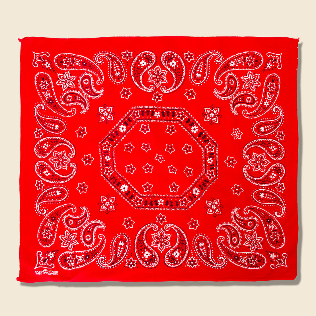 Vintage Fastcolor Cotton Paisley Bandana - Red/White/Black