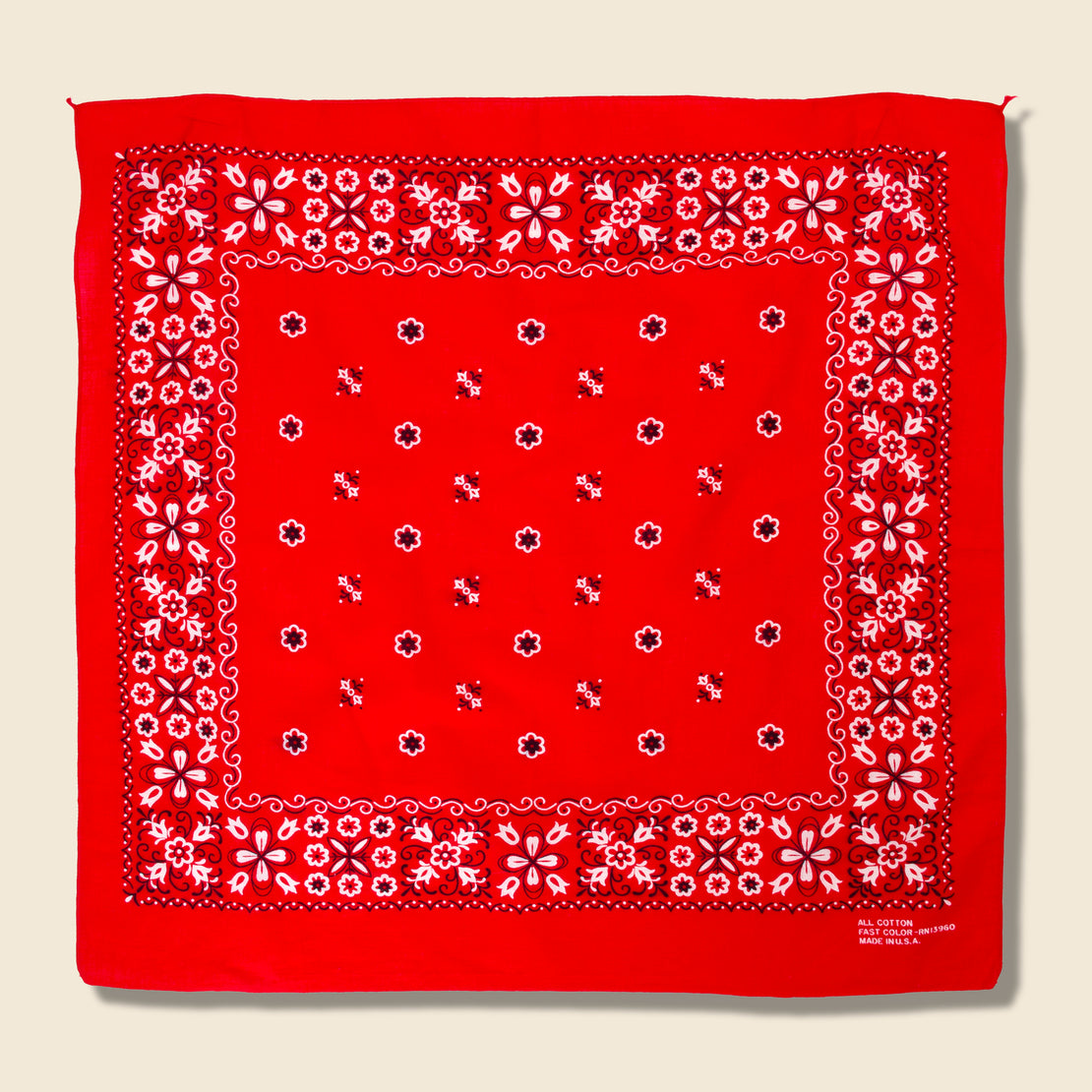 Vintage Fastcolor Tuside Cotton Floral Bandana - Red/White/Black