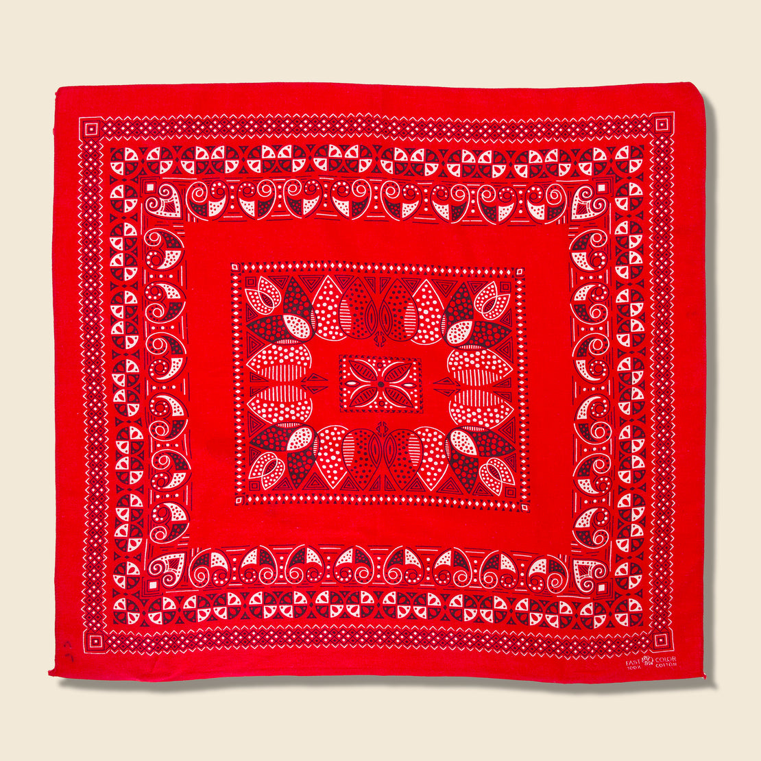 Vintage Fastcolor Cotton Geometric Bandana - Red/White/Black