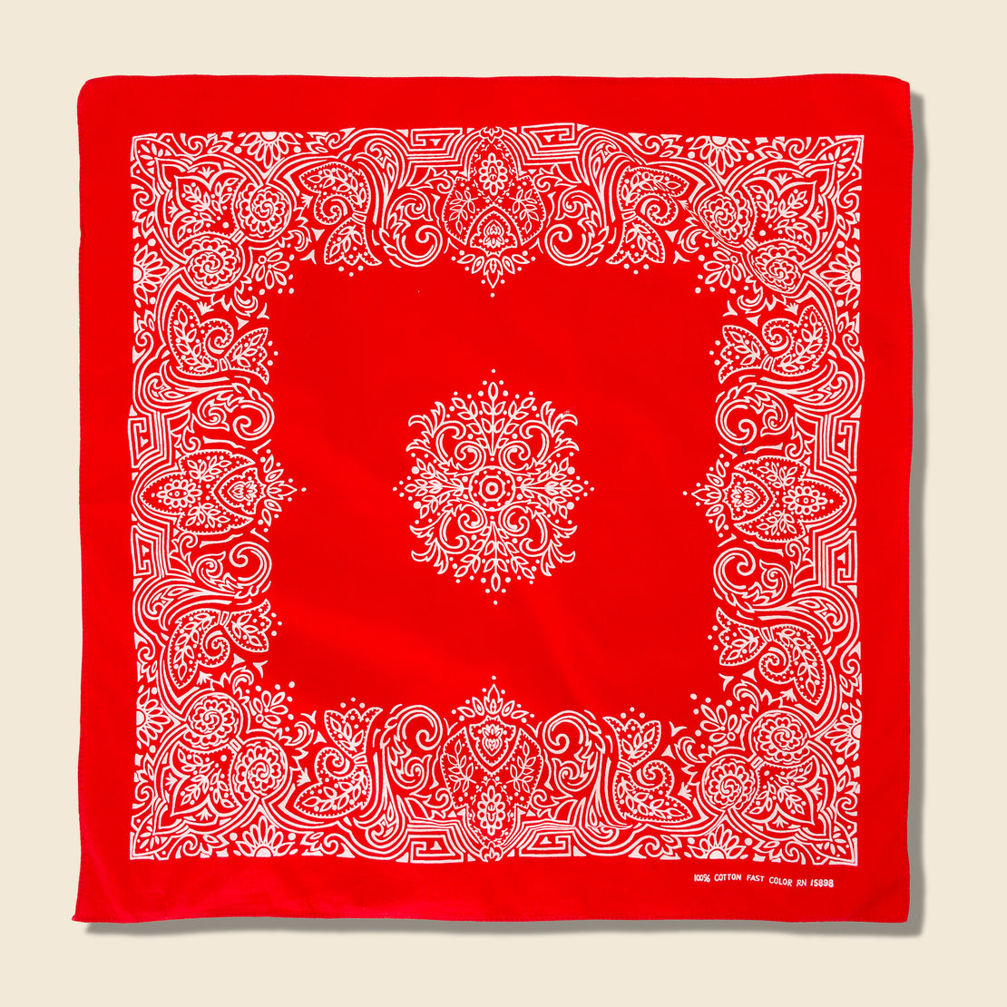 Vintage Fastcolor Cotton Paisley Bandana - Red/White