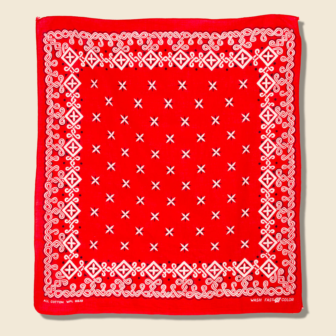 Vintage Fastcolor Cotton Celtic Knot Bandana - Red/White/Black