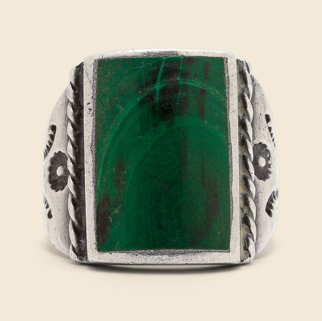 Malachite Picture Stone Ring - Sterling