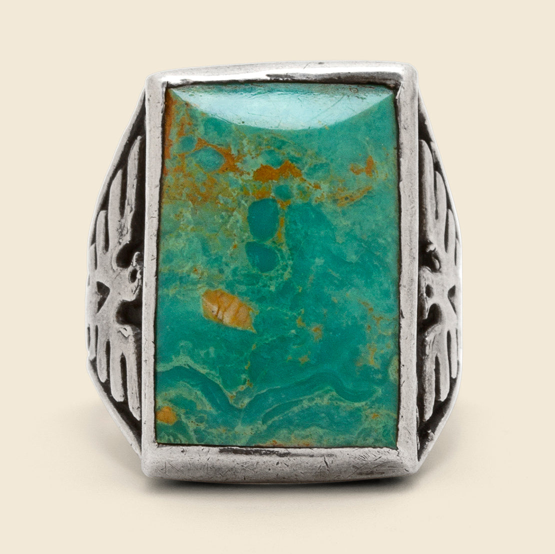 Turquoise Stone Thunderbird Band Ring - Sterling