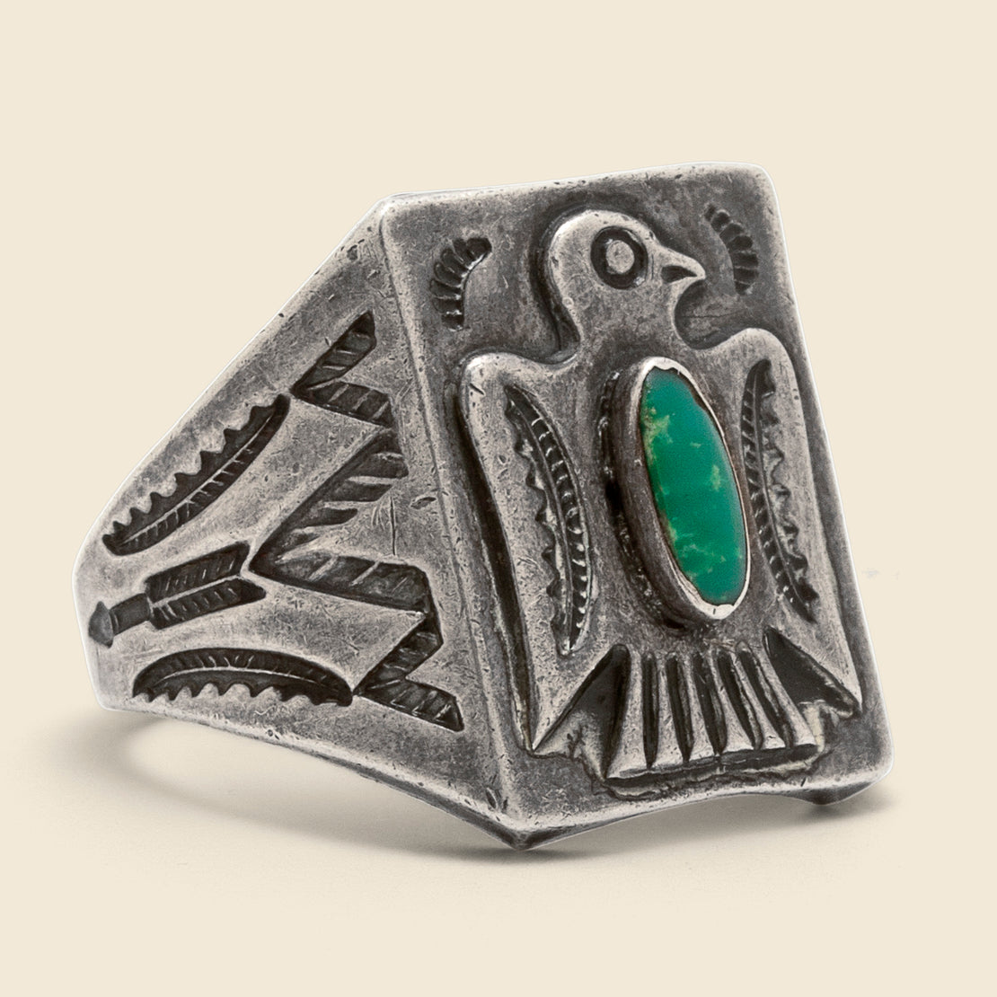 Vintage Stamped Thunderbird Oval Turquoise Ring - Sterling