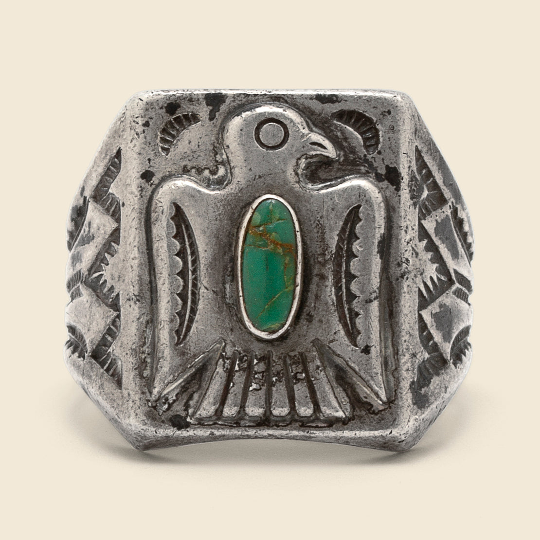 Turquoise & Thunderbird Ring - Sterling