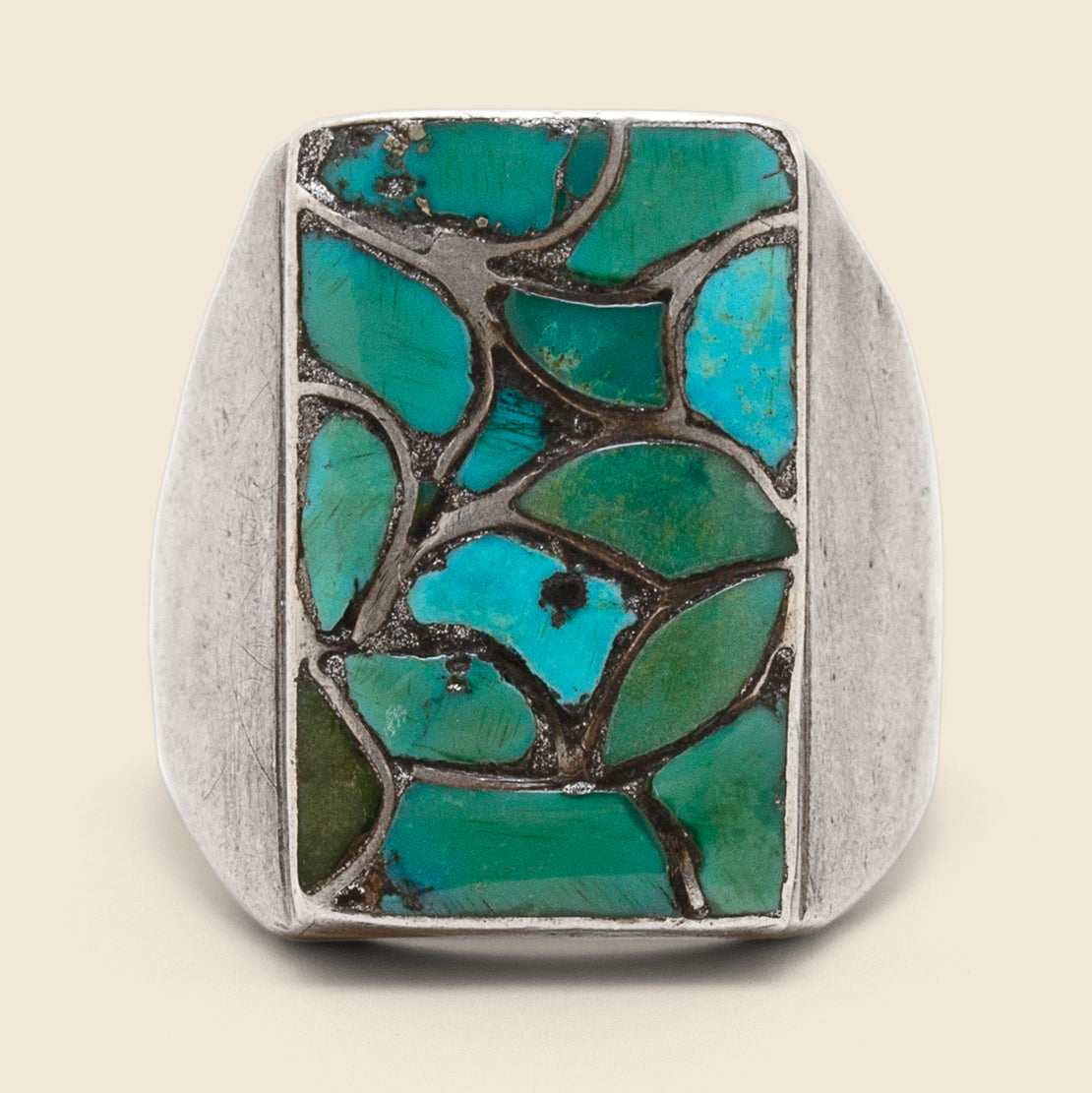 Turquoise Leaves Ring - Sterling