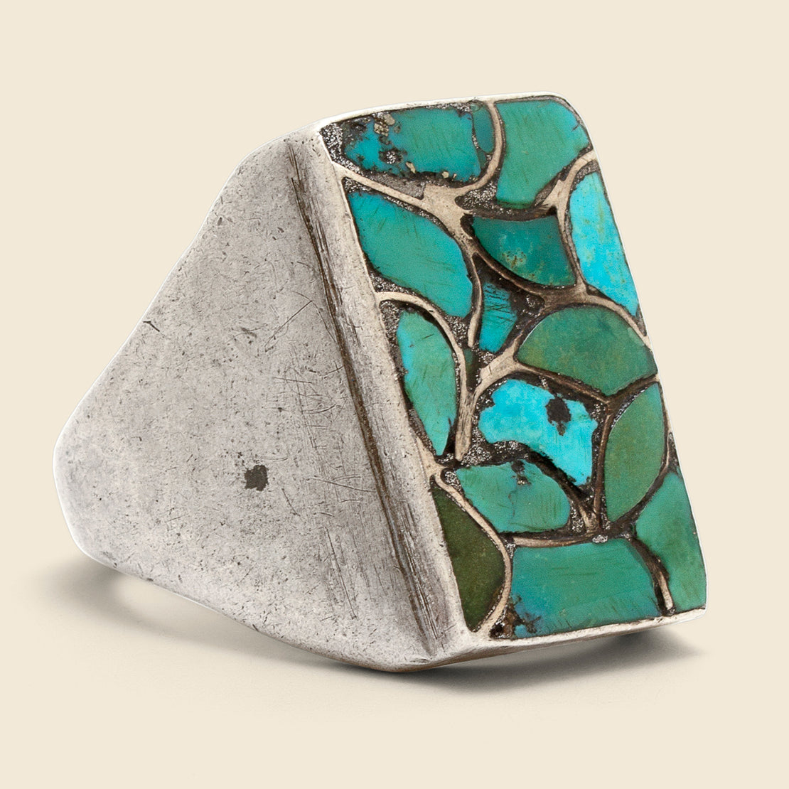Vintage Turquoise Leaves Ring - Sterling