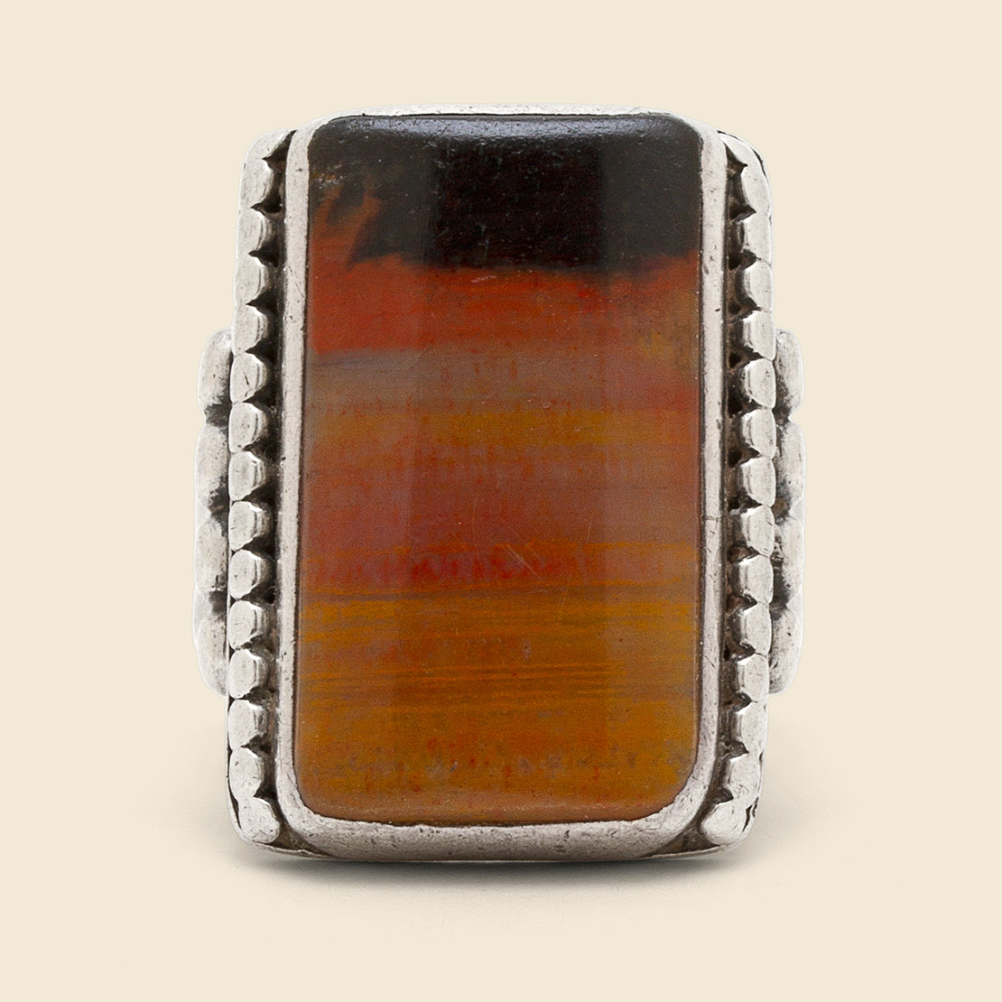 Jasper Dusk Picture Stone Ring - Sterling
