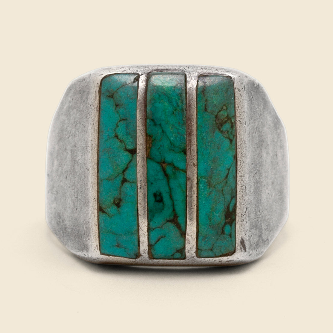 Vertical Turquoise Bar Ring - Sterling