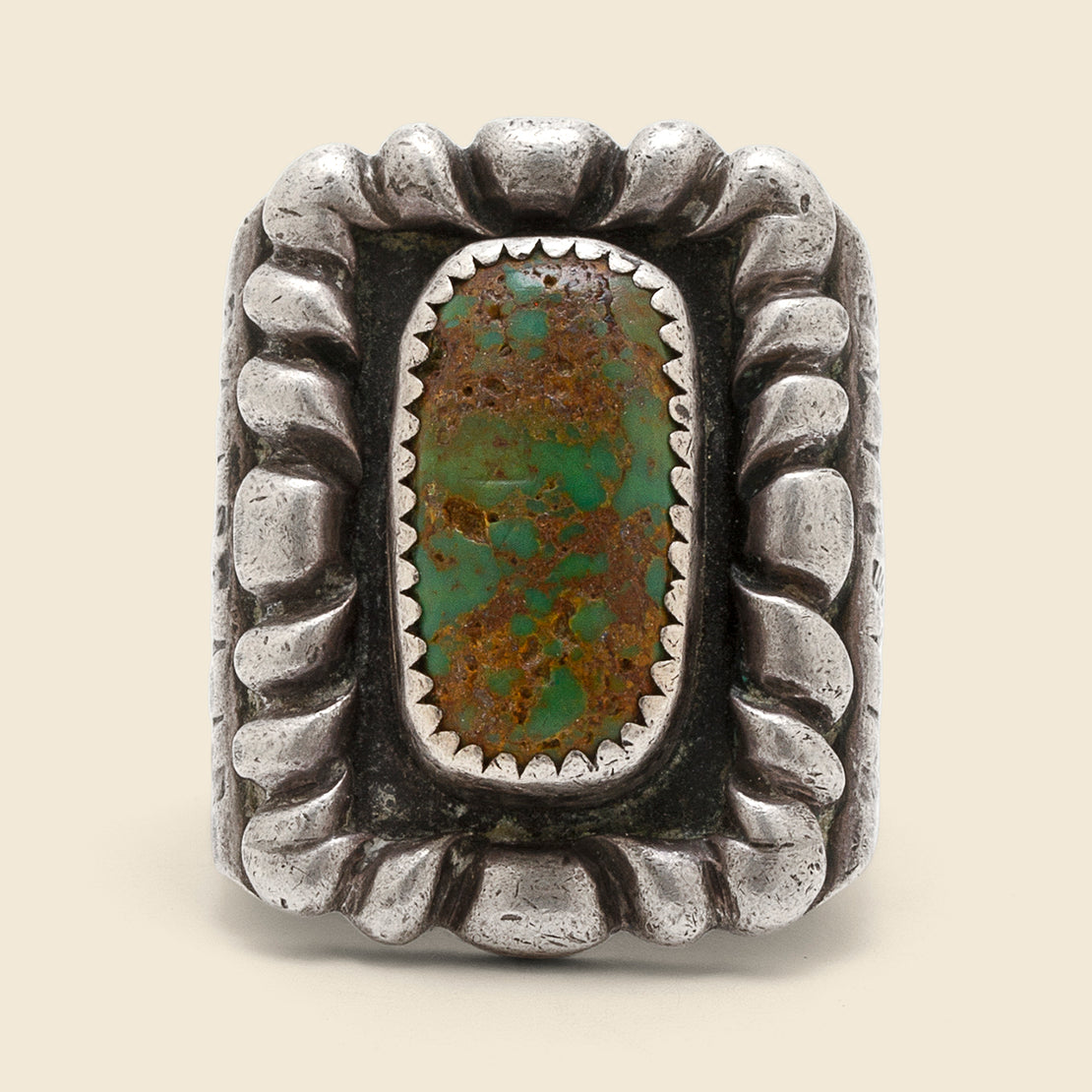 Braided Inlay Turquoise Ring - Sterling/Turquoise