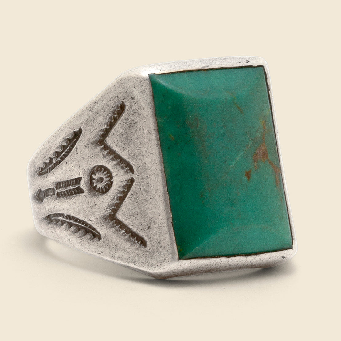 Vintage Stamped Picture Stone Ring - Sterling/Turquoise