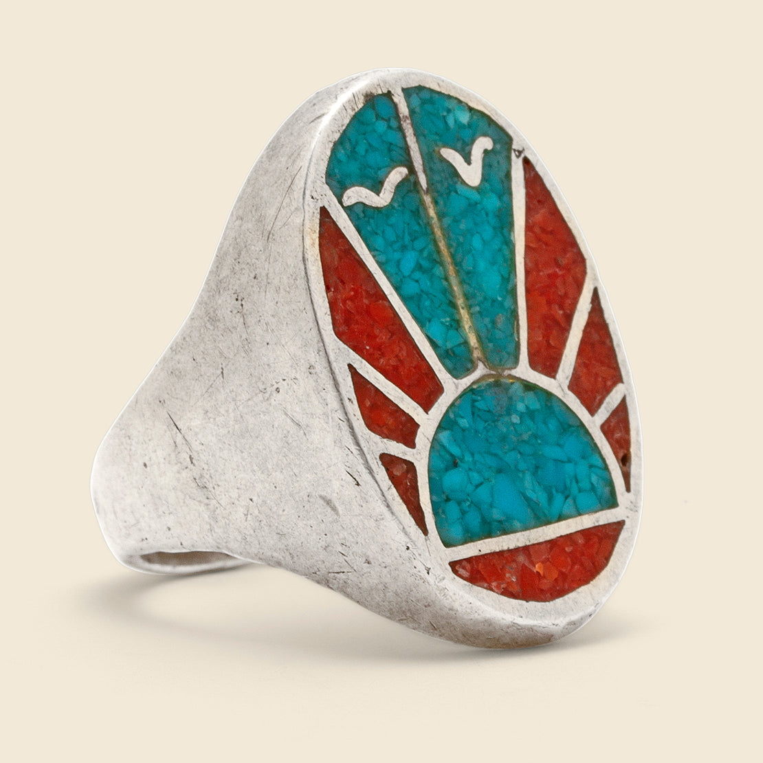 Vintage Crushed Rising Sun Ring - Sterling/Turquoise/Coral