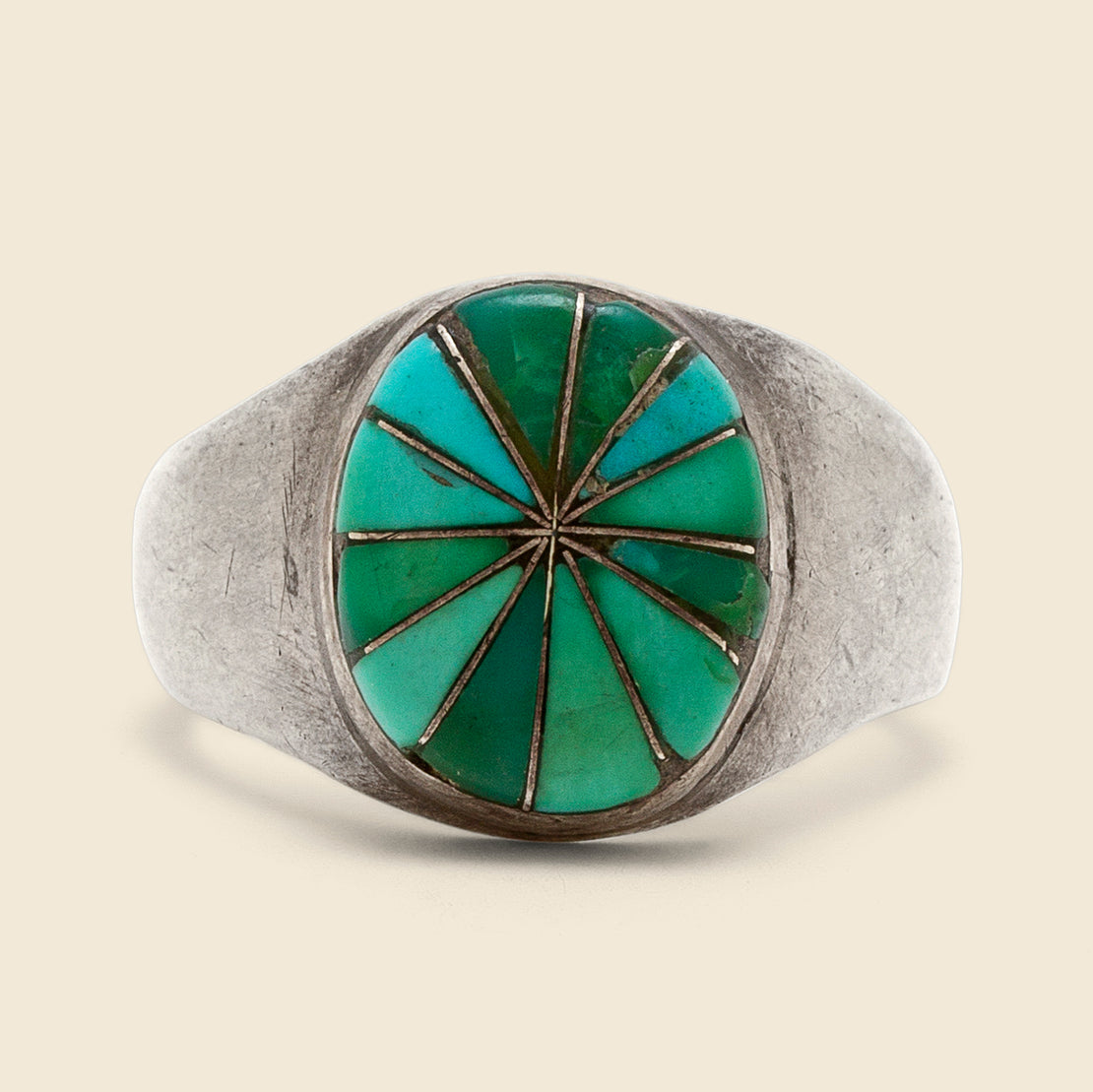 Pinwheel Inlay Turquoise Ring - Sterling