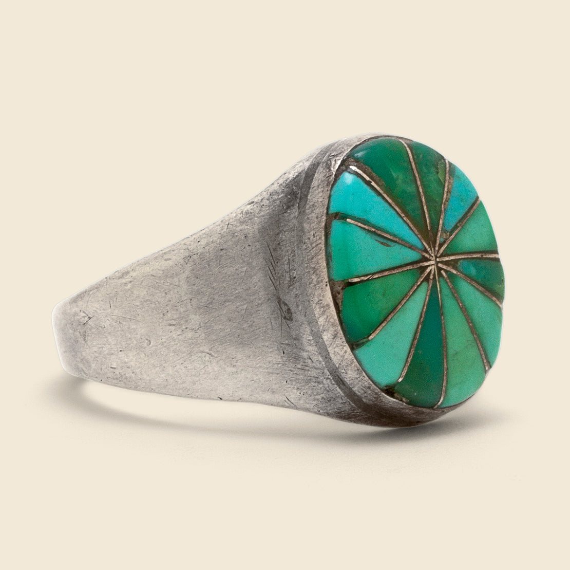 Vintage Pinwheel Inlay Turquoise Ring - Sterling