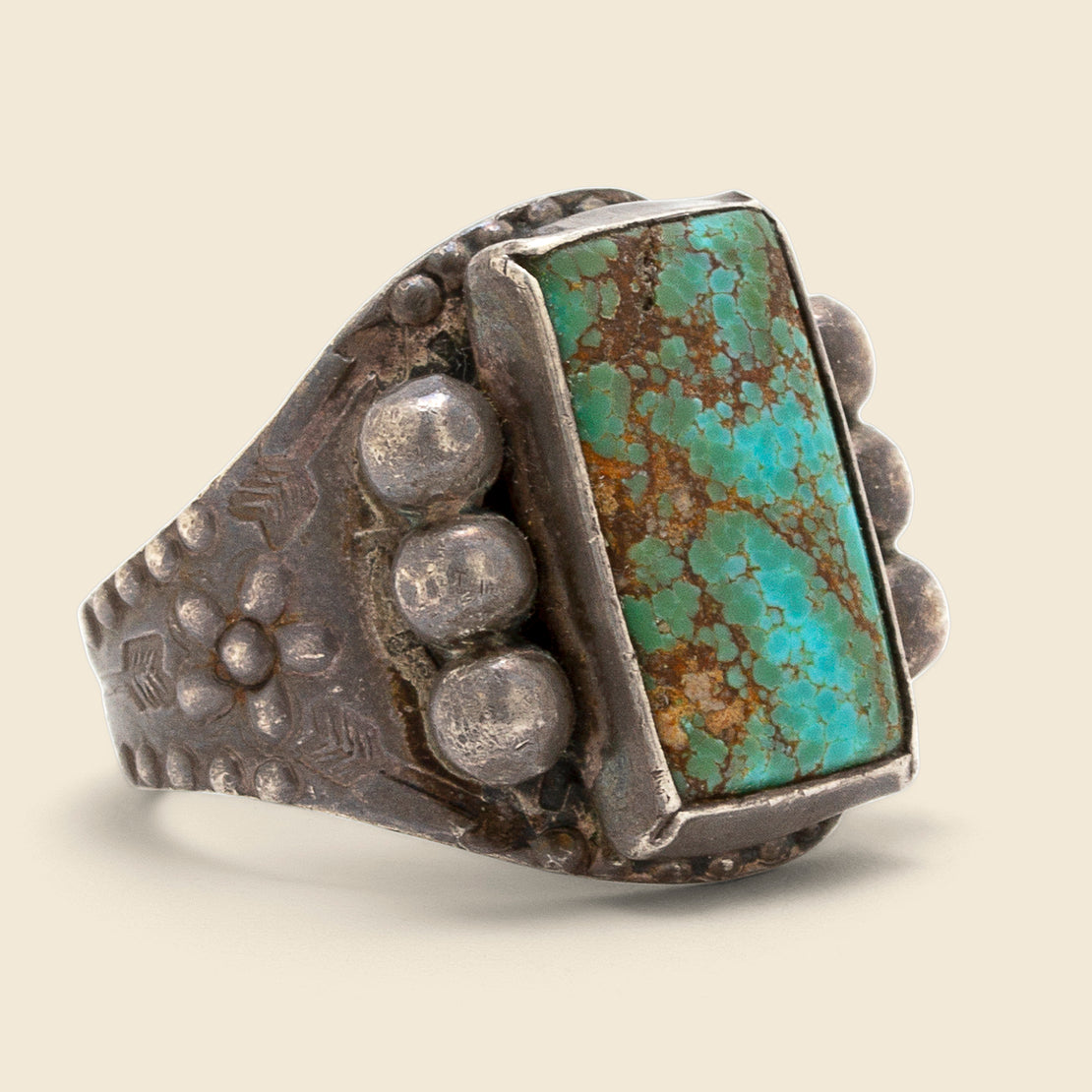 Vintage Flowers & Studs Turquoise Ring - Sterling/Turquoise