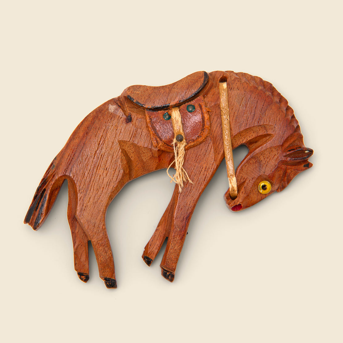 Vintage Wooden Bucking Bronco Brooch - Wood/Leather