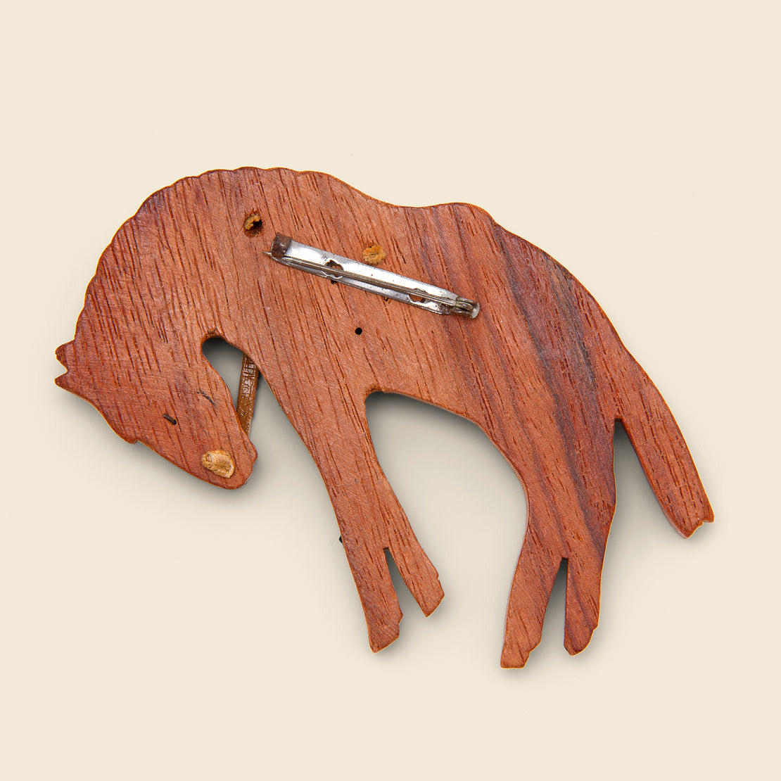 Wooden Bucking Bronco Brooch - Wood/Leather