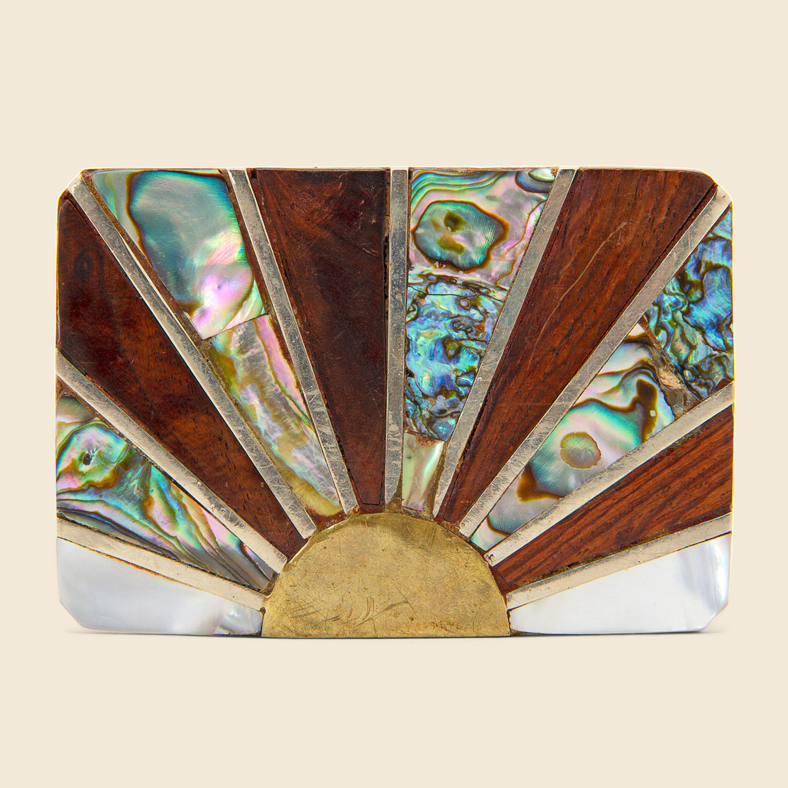 Vintage Brass Belt Buckle - Rising Sun