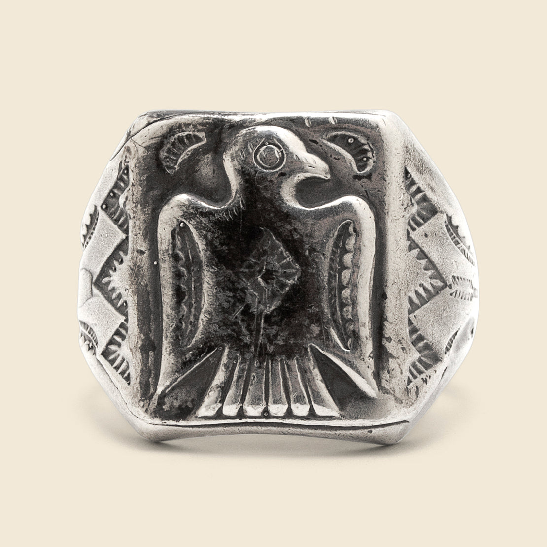 Stamped Thunderbird Ring - Sterling