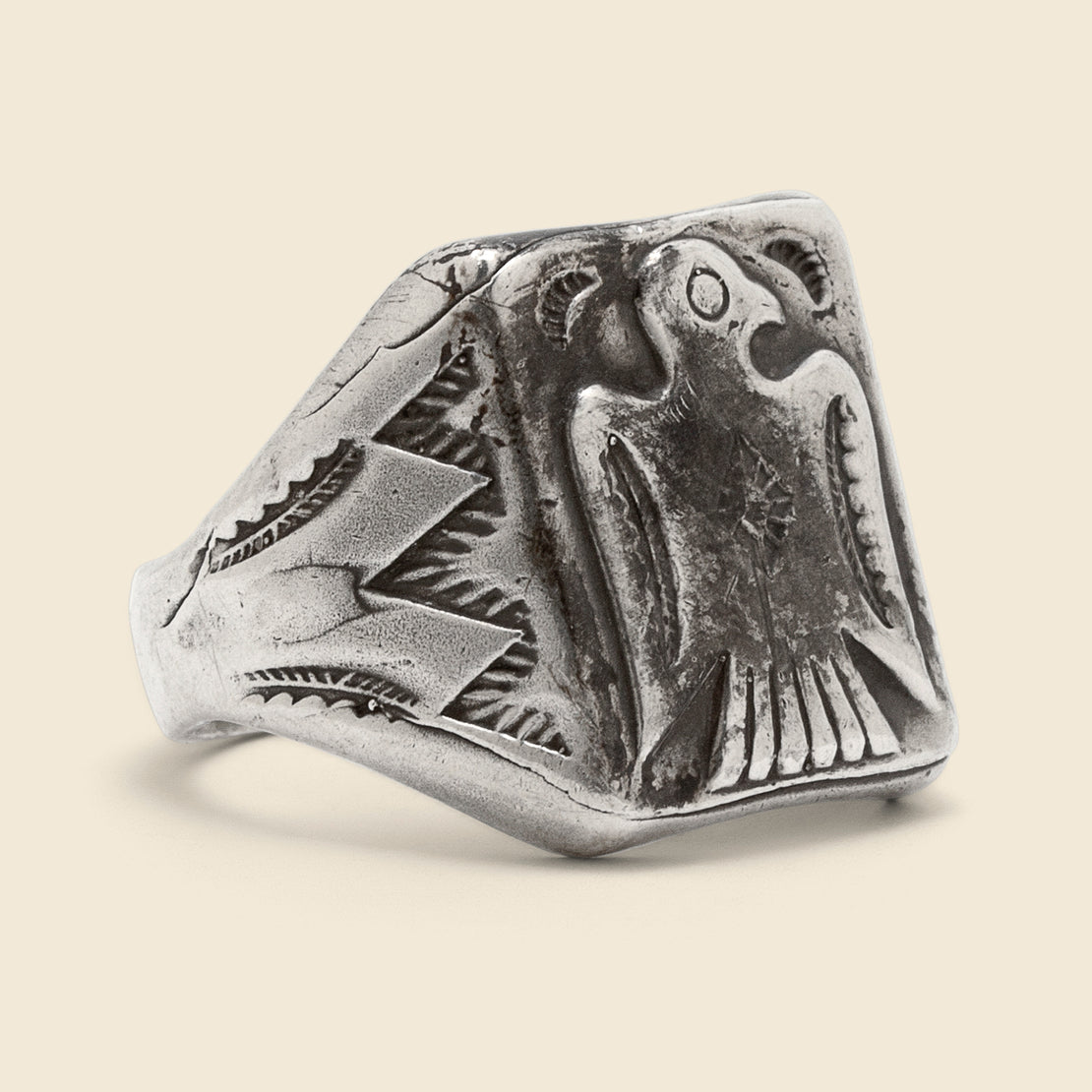 Vintage Stamped Thunderbird Ring - Sterling