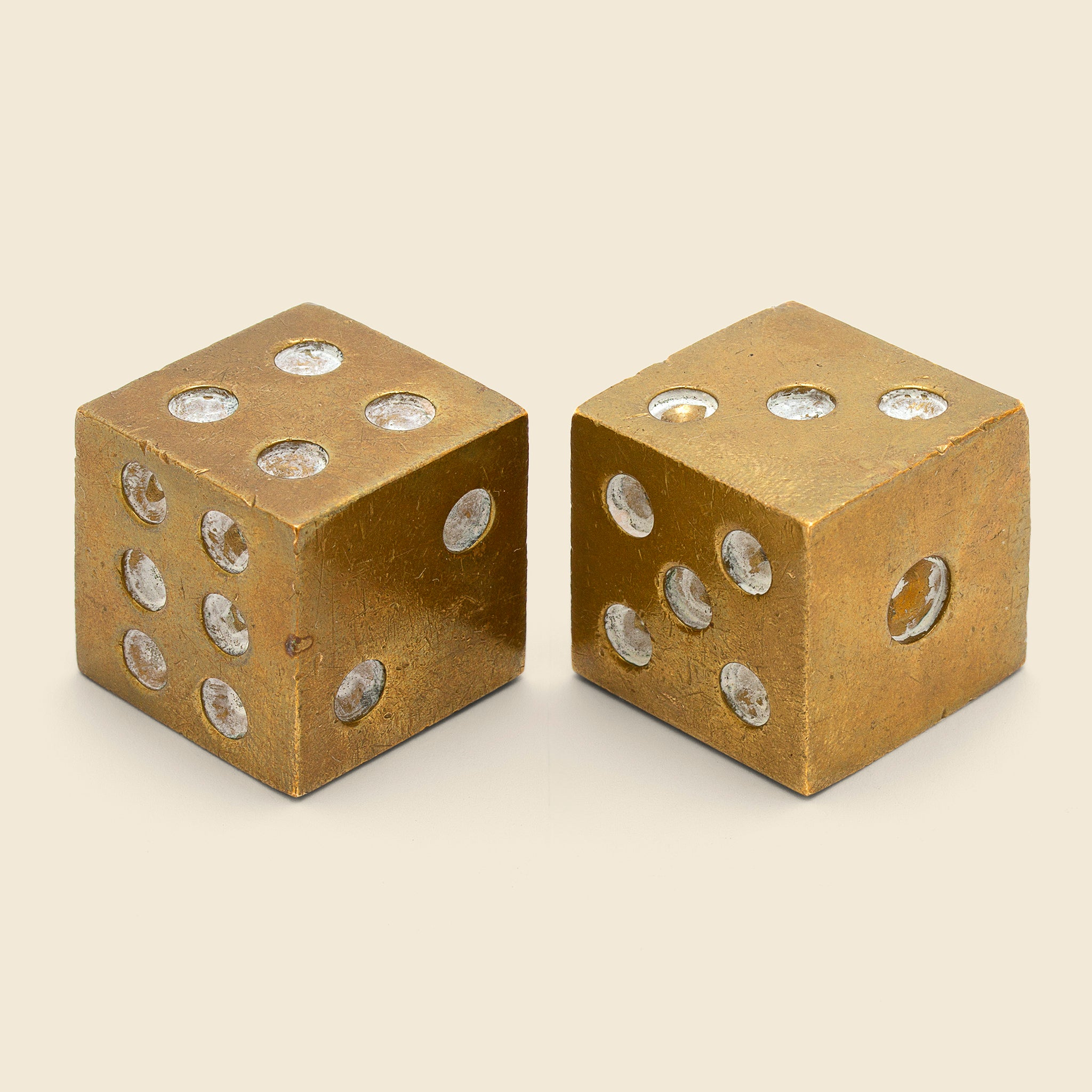 Set Of Brass Dice Brass White