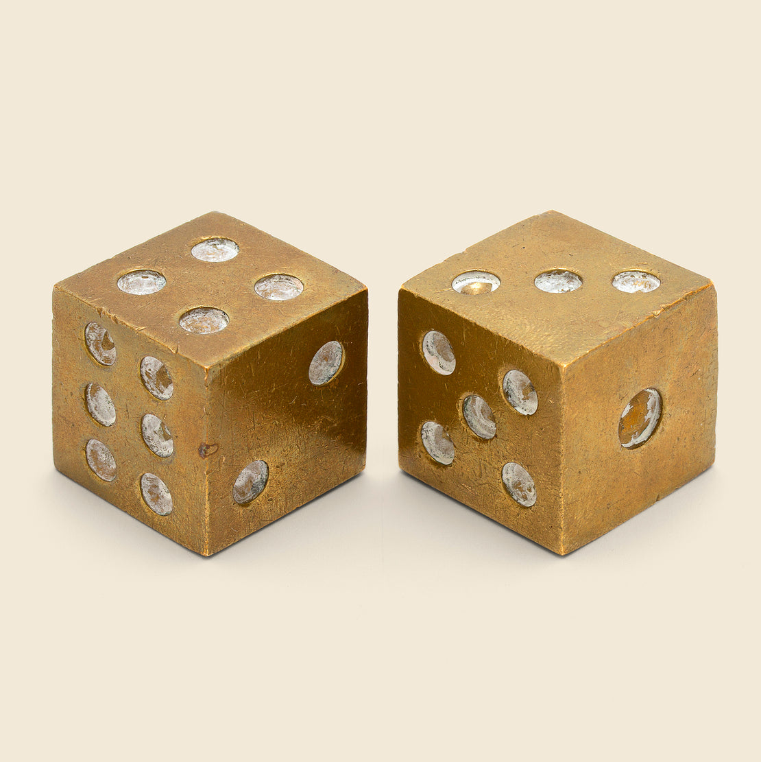 Vintage Set of Brass Dice - Brass/White